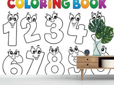 Coloring book cartoon numbers set 1