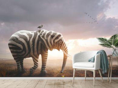 Elephant with zebra stripes