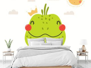 Hand drawn portrait of a cute iguana in shirt and crown, with sun and clouds. Vector illustration. Isolated objects on white background. Scandinavian style flat design. Concept for children print.