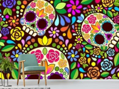 Sugar Skull Floral Naif Art Mexican Calaveras Vector Seamless Pattern Design