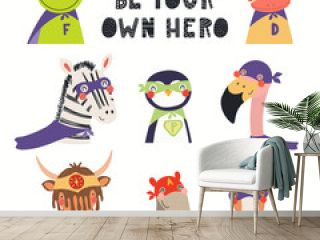 Big set of cute animal superheroes, with lettering Be your own hero. Isolated objects on white background. Hand drawn vector illustration. Scandinavian style flat design. Concept for children print.