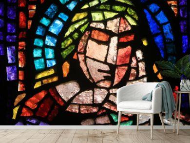 Vitrail de Paul Bony et d'Alexandre Cingria (1879-1945). Eglise Notre-Dame des Alpes. / Stained glass by Alexandre Cingria. Notre-Dame des Alpes church.