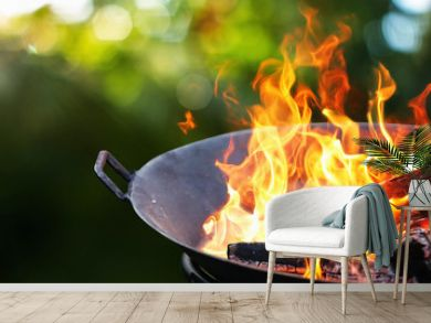 Barbecue Grill. Fire flame