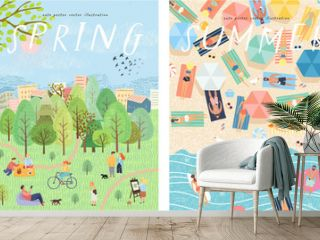 Vector posters of the seasons: winter, spring, summer, autumn  Illustrations of people and families in nature and the landscape, on holiday on the beach, in the park and in the city. Top view