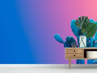 Minimal summer design of cactus on color gradient background with copy space