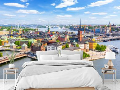 Aerial view of Stockholm old town (Gamla Stan) from City Hall top, Sweden