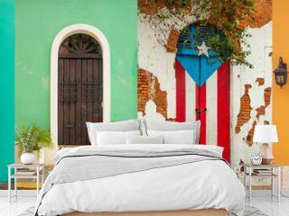 Collage of colorful door in old San Juan, Puerto Rico