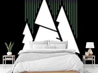 Abstract nature in minimalism, white Christmas trees and abstract borealis on black background. Three white spruces and aurora lights, simple outline design.