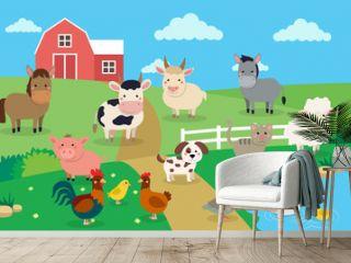 Farm animals with landscape - vector illustration in cartoon style, children s book illustration