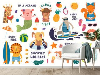 Big summer set with cute animals, quotes, fruits, drinks, pool floats. Isolated objects on white background. Hand drawn vector illustration. Scandinavian style flat design. Concept for children print.