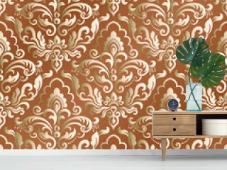 Seamless pattern with damask ornament. Vector vintage floral seamless pattern element. Damask wallpaper. Islam, Indian, Arabic.