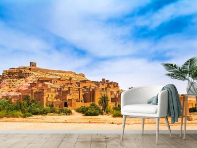 Amazing view of Kasbah Ait Ben Haddou near Ouarzazate in the Atlas Mountains of Morocco. UNESCO World Heritage Site since 1987. Artistic picture. Beauty world. Panorama