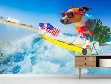 surfer dog  at the beach