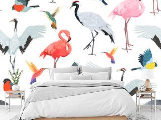 Seamless pattern with birds. Flamingos, cranes, hummingbirds, chickadees and bullfinches