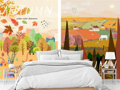 Autumn nature. Cute vector illustration of landscape natural background, village, people on vacation in the park at a picnic, forest and trees. Drawings from the hand