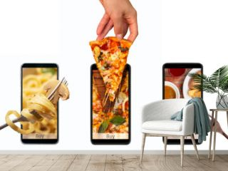 Order and food delivery from your smartphone. Smartphone on white background