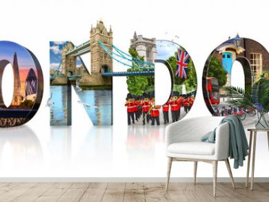 London city landmarks. Word illustration of most famous London monuments and places