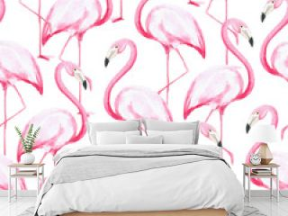 Watercolor pattern with pink flamingos. The illustrations are drawn by hand