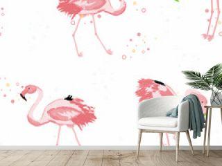 Pink flamingo tropical seamless pattern