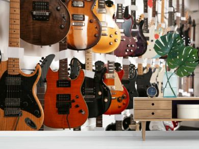 Rows of different guitars in music store