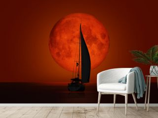 """Big bloody (red) full moon with lone yacht - Lunar eclipse """"Elements of this image furnished by NASA """""""
