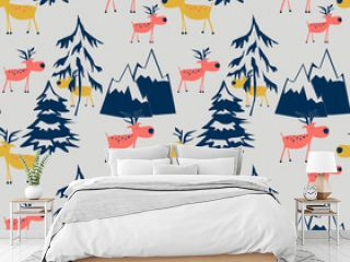 Seamless Christmas pattern. Funny deer, Christmas trees, mountains on a light gray background.