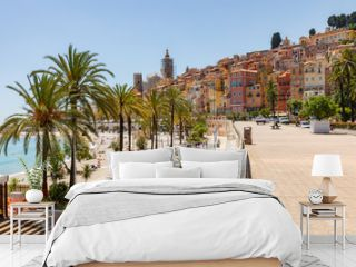 Old town architecture of Menton on French Riviera. Provence-Alpes-Cote d'Azur, France.