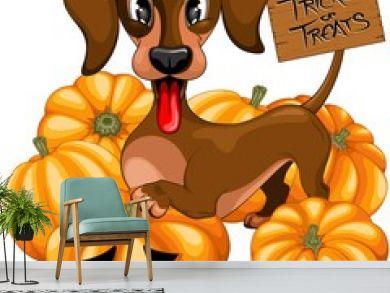 Halloween Dachshund Tricks or Treats Cute Cartoon Character Vector Illustration