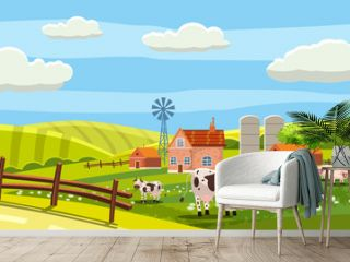 Rural farm landscape with green fields hills and farm village buildings animals cows sheeps