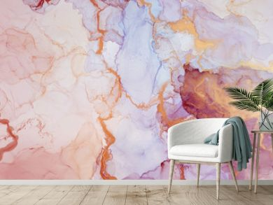 The picture is painted in alcohol ink. Creative abstract artwork made with translucent ink colors. Trendy wallpaper. Abstract painting, can be used as a background for wallpapers, posters, websites.