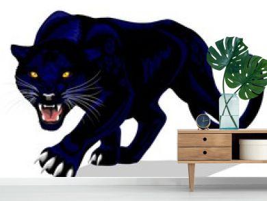 Black Panther Spirit Roaring Vector illustration isolated on white.