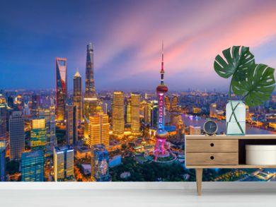 Aerial view of Shanghai skyline at night,China.