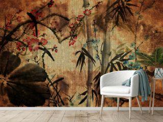 3d wallpaper, butterflies, Chinese nature painting, old canvas textures. Murals effect.