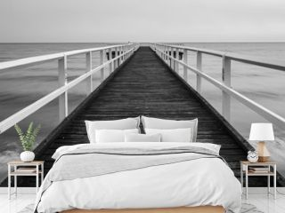 Wooden sea pier black and white