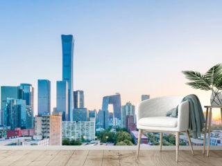 City skyscrapers in the sun in Beijing, China