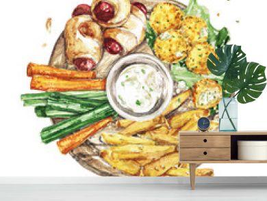 Bar Snacks Platter. Watercolor Illustration