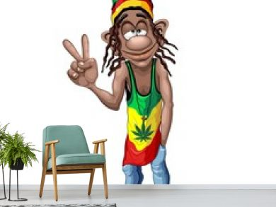 Rastafari Cool Peace Sign Cartoon Character Vector Illustration