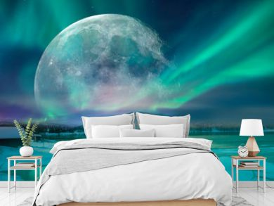 """Northern lights (Aurora borealis) in the sky with super full moon - Tromso, Norway """"Elements of this image furnished by NASA"""