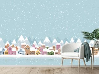 Winter town flat style with snow falling and mountain