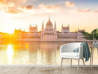 Parliament building over delta of Danube river in Budapest