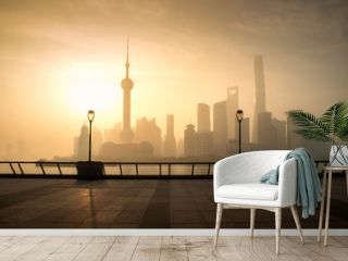 Shanghai skyline cityscape in moring at luajiazui finance and business district trade zone in Shanghai, China.