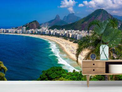 Copacabana beach in Rio de Janeiro, Brazil. Copacabana beach is the most famous beach of Rio de Janeiro, Brazil