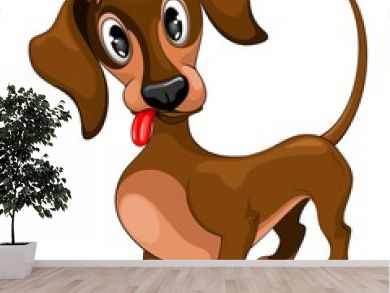 Dachshund Cute Confused Puppy Dog Cartoon Character Vector Illustration