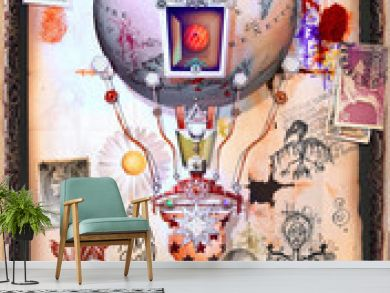 Steampunk hot air balloon with old stamps and occult and mysterious symbols