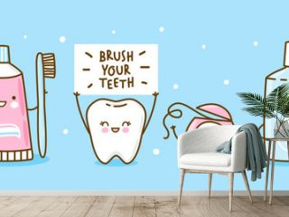 Cute tooth and objects for dental care on blue - funny toothpaste, brush, dental floss and mouthwash