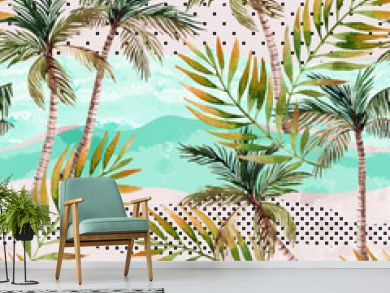 Abstract summer beach background. Art illustration with watercolor palm trees, palm leaves, doodles and grunge textures