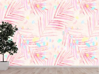 Artistic watercolor palm leaves, pastel colored confetti seamless pattern