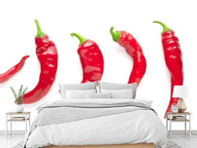 set of red chili peppers isolated on white background