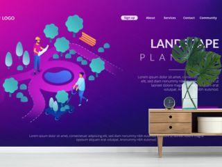 Tiny people landscape designer planning and gardener planting decorative plants. Landscape design, landscape planning, gardening services concept. Isometric 3D website app landing web page template