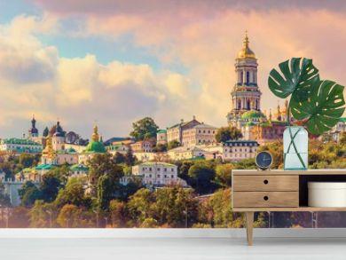 Kiev, Ukraine. Cupolas of Pechersk Lavra Monastery and river Dniepr panoramic city
